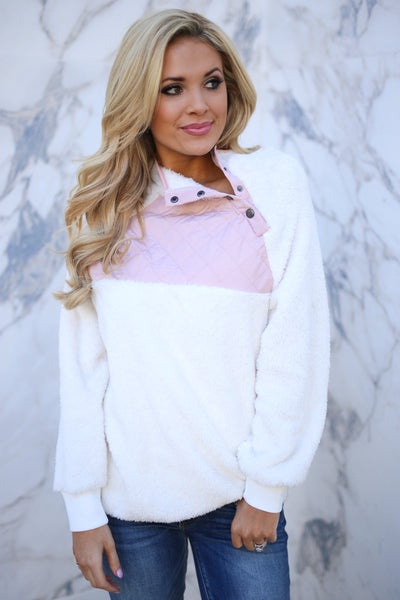 pullover, winter, ivory, cream, quilted, sherpa, button, pink, light pink, girly, fall, warm, cozy