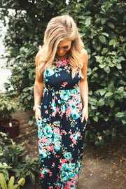 Let Love Grow Floral Maxi (Navy)