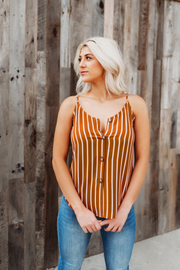 The Brooklyn Button Tank (Mustard/Ivory)