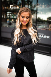 All About That Lace Ribbed Top (Charcoal)