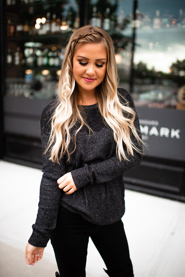 All About That Lace Ribbed Top (Charcoal) DOORBUSTER