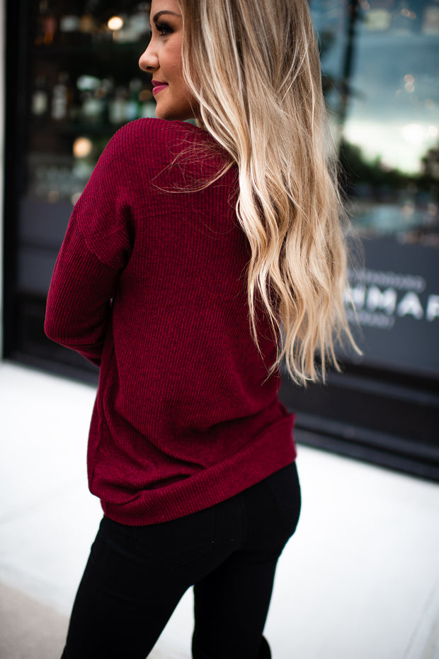 All About That Lace Ribbed Top (Burgundy)