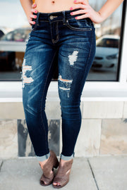jeans, kancan, dark, denim, destroyed, stretchy, jegging, midrise, mid-rise