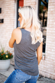 It's Time Criss Cross Tank (Charcoal)