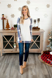 Plaid Raglan Tunic (Navy) FINAL SALE