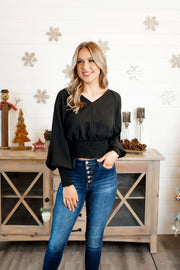 Miss and Kiss Smocked Blouse (Black)