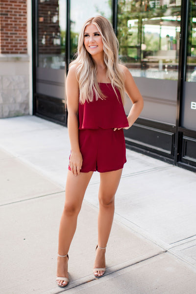 Buddy Love Andrews Romper (Maroon) FINAL SALE