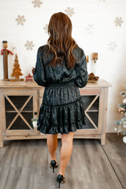 Spotted In Satin Ruffle Dress (Black)