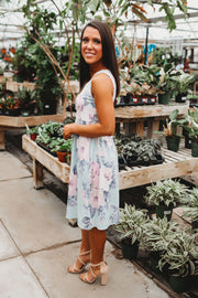 Makes You Smile Floral Dress (Sage)