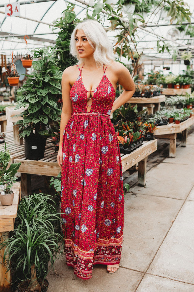 The Barbados Floral Maxi (Red)