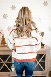 Love Affair Striped Sweater (Ivory/Rust)