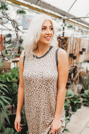 Shout For Spots Midi Dress (Taupe)
