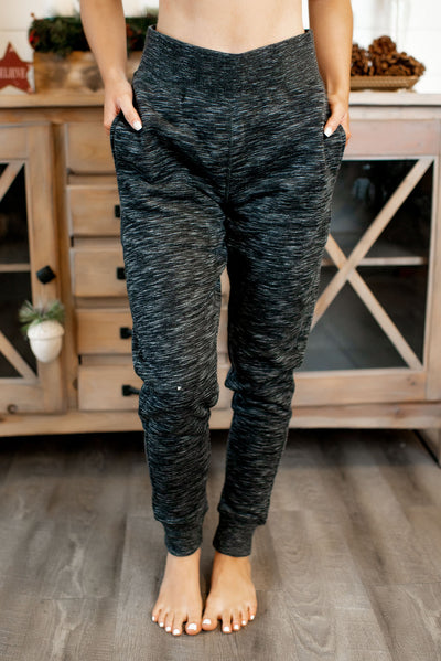 Brushed Fleece Joggers (Marled Black)