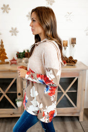 Carry On Waffle Pullover (Mocha Floral)FINAL SALE