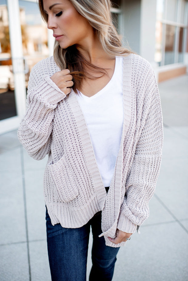 Couch Potato Knit Cardigan (Nude)