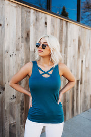 It's Time Criss Cross Tank (Teal)