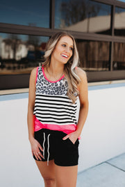 Droppin' Prints Tank Top (Neon Pink)