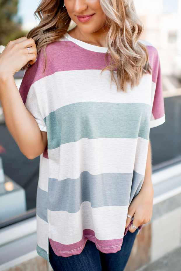Candy Shop Striped Tee (Mauve/Green/Blue)