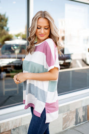 Candy Shop Striped Tee (Mauve/Green/Blue) FINAL SALE