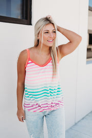Chase The Rainbow Twist Tank (Lavender)