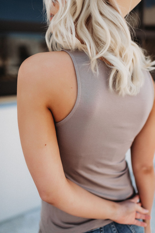 It's Time Criss Cross Tank (Taupe)