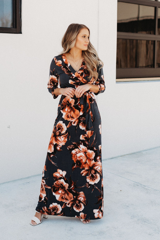 PRE-ORDER Midnight Meadows Floral Maxi (Dark Teal)