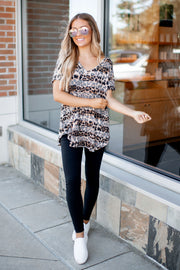 Subtly Striped Leopard V-Neck