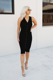Snap It Up Midi Dress (Black)