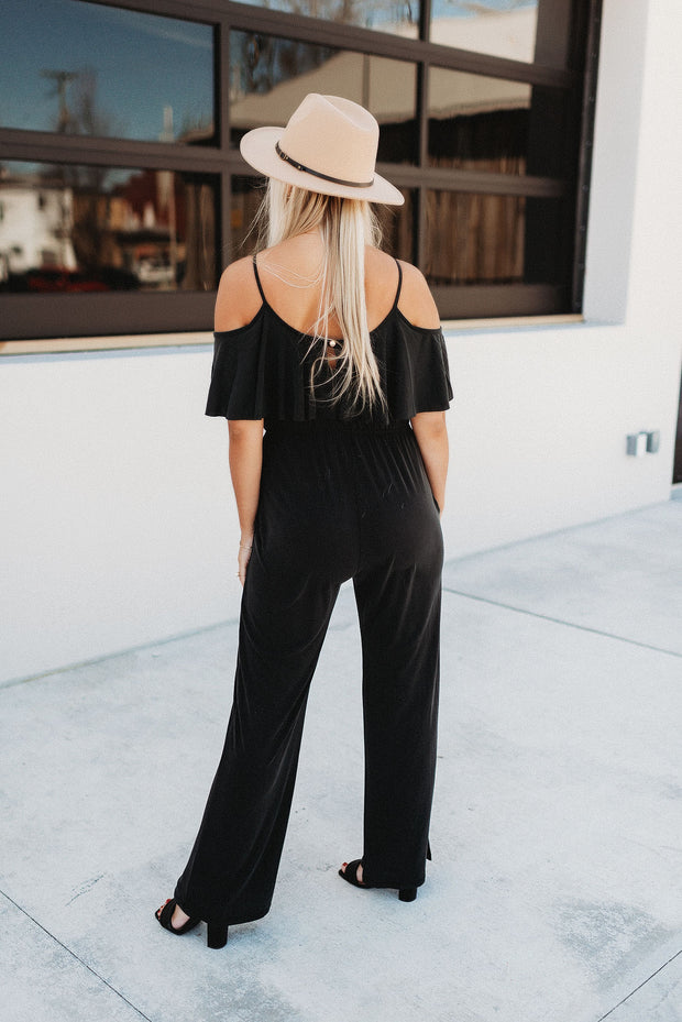 The Raina Ruffle Jumpsuit (Black)