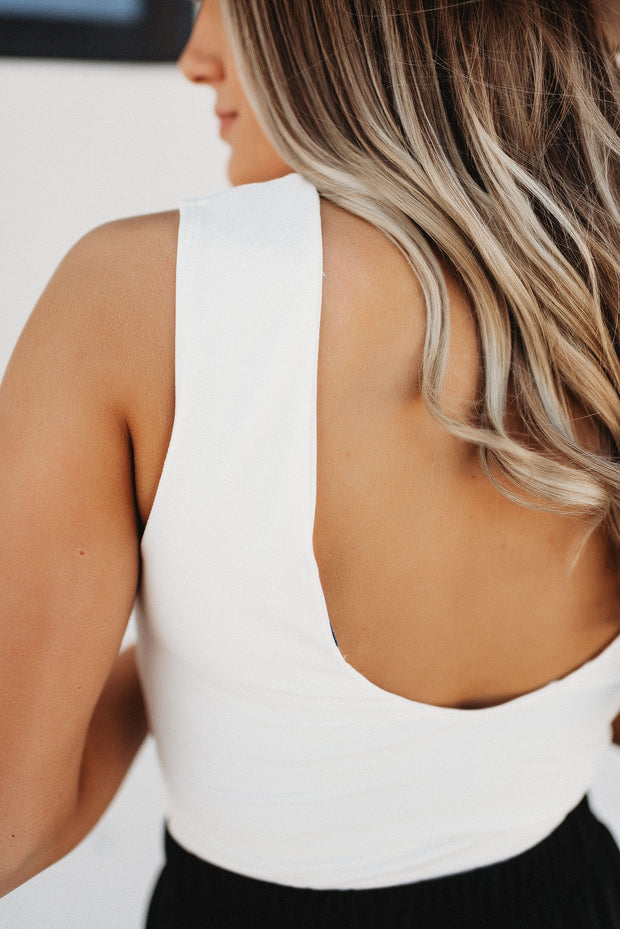 Deep V Bodysuit (White)