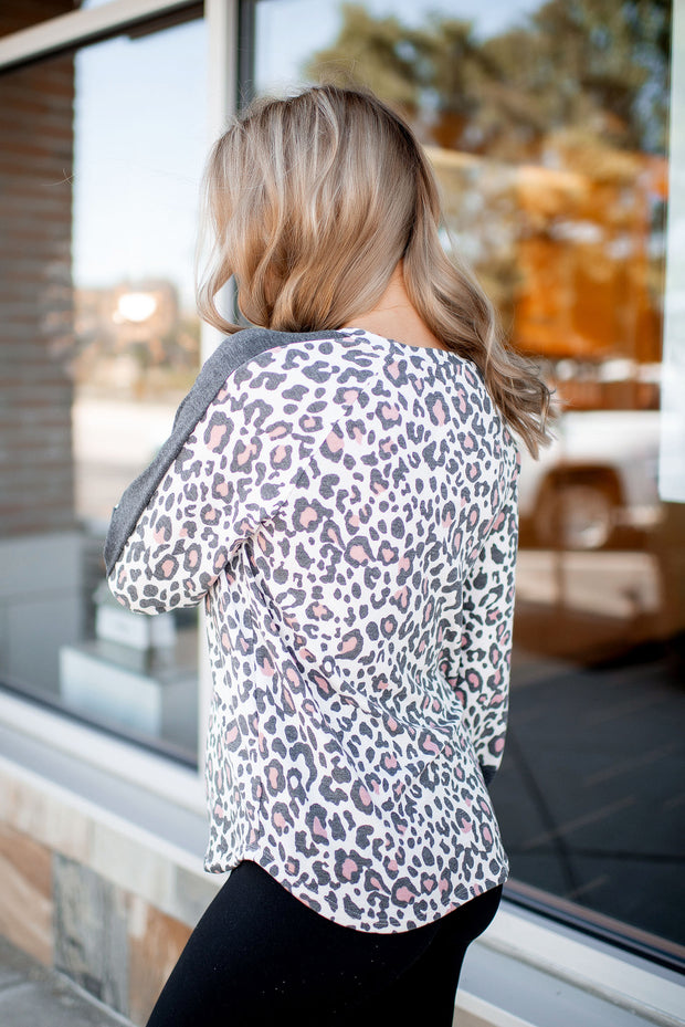 Daily Dose Of Leopard Top (Charcoal/Pink)