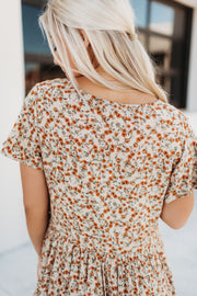 Ditsy Floral Swing Dress (Taupe)