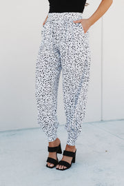 Dress Me Up Joggers (White/Black Spots)