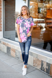 Forgiving Floral Pocket Tee (Pink)FINAL SALE