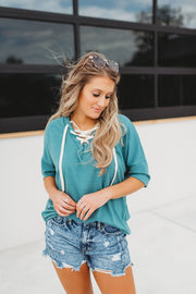 Laced Up Tee (Ocean)