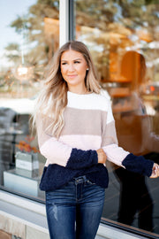 Won't Delete Later Striped Sweater (Blush/Navy) FINAL SALE
