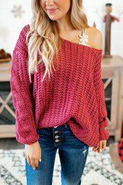 Never Look Back Knit Sweater (Burgundy)