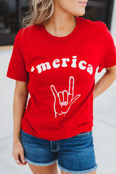Rock On 'Merica Tee (Red)