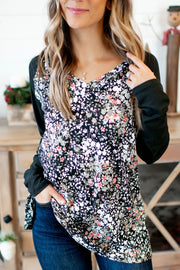The Hila Top (Floral/Black Sleeves)