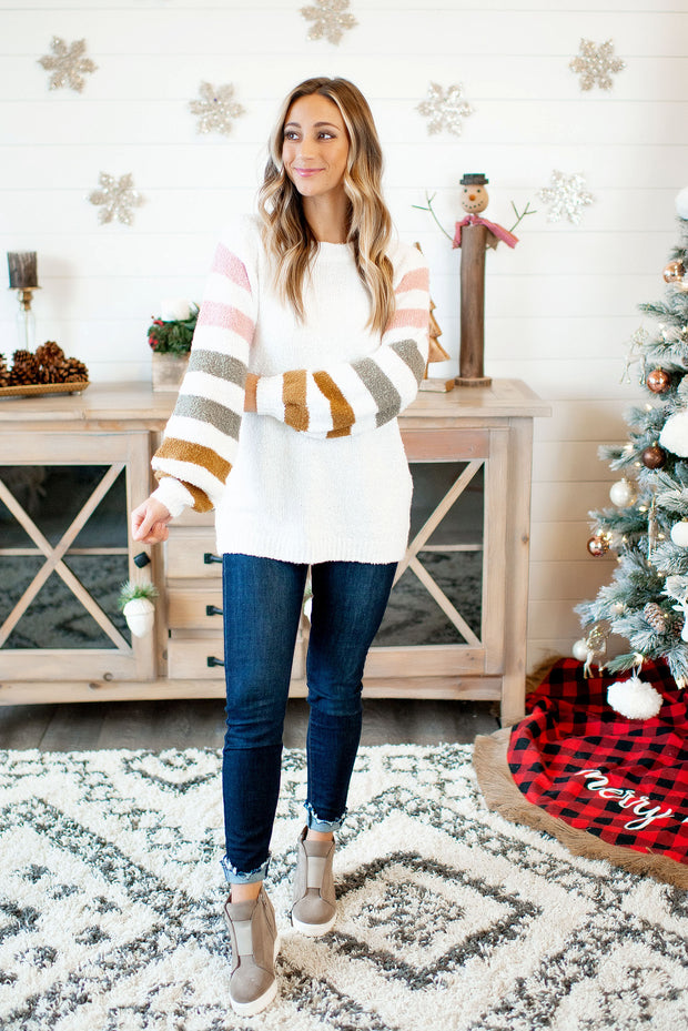 Arm Candy Striped Sweater (Ivory)