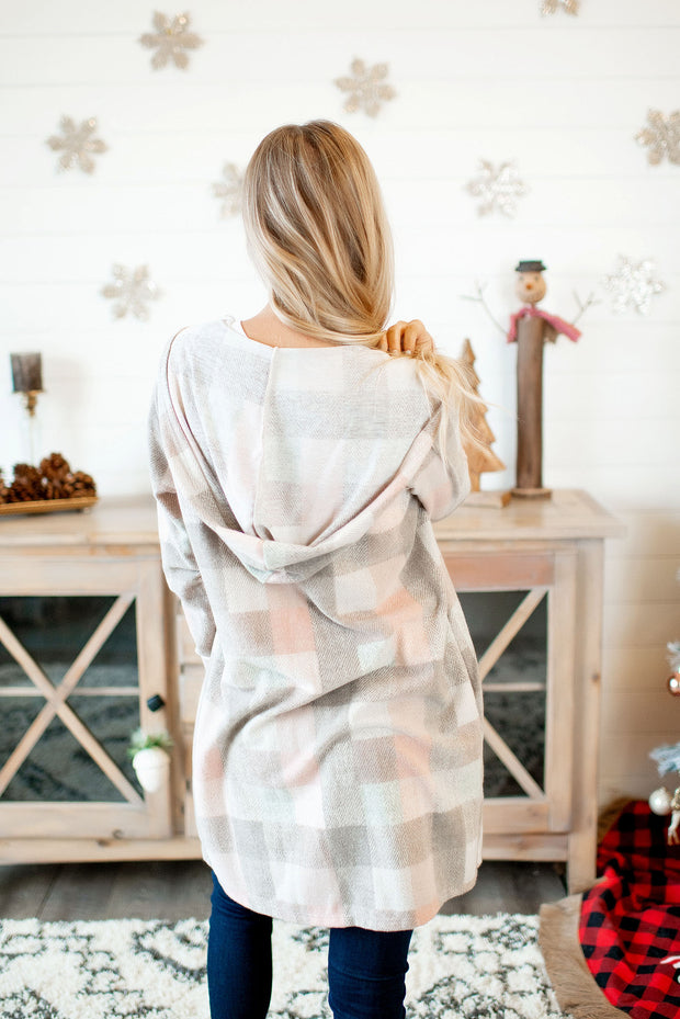 Paint In Plaid Cardigan (Taupe/Blush)