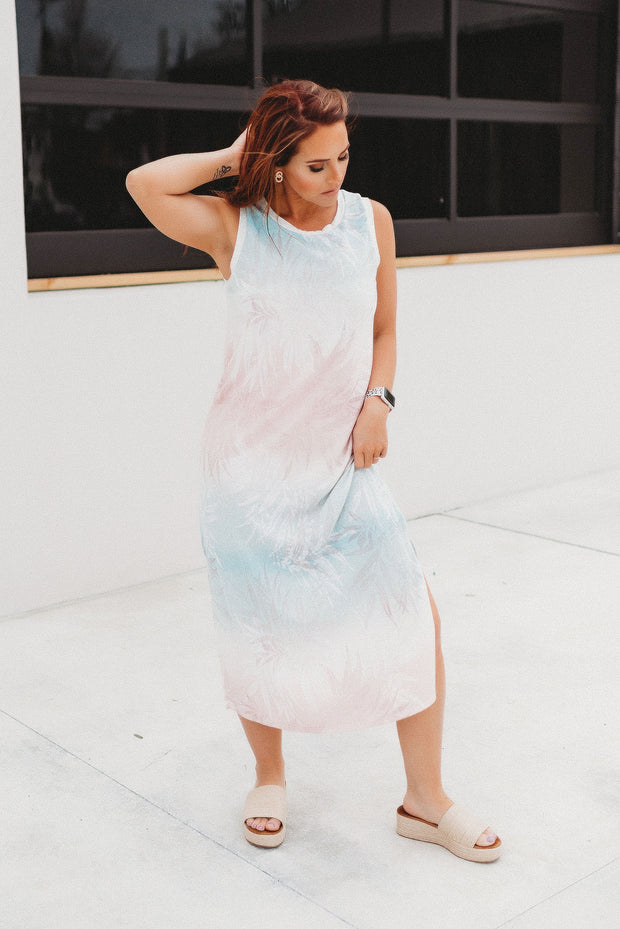 Island Getaway Midi Dress (Coral/Mint)