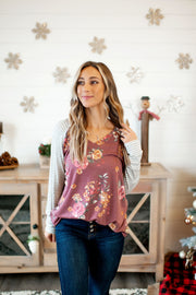 The Hila Top (Burgundy Floral/Striped Sleeves)