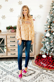 The Lindsey Embroidered Blouse (Marigold)