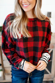 DEAL OF THE DAY Gingham Plaid Dolman Top (Red/Black)