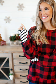 DEAL OF THE DAY Gingham Plaid Dolman Top (Red/Black) FINAL SALE