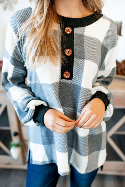 Checked Out Button Tunic (Black/White)