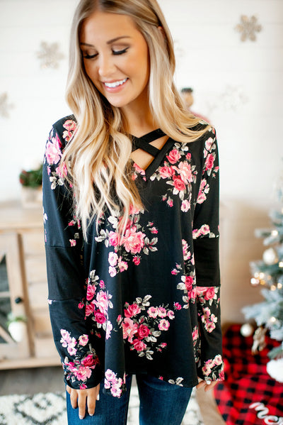 The Crossroads Top (Black Floral)