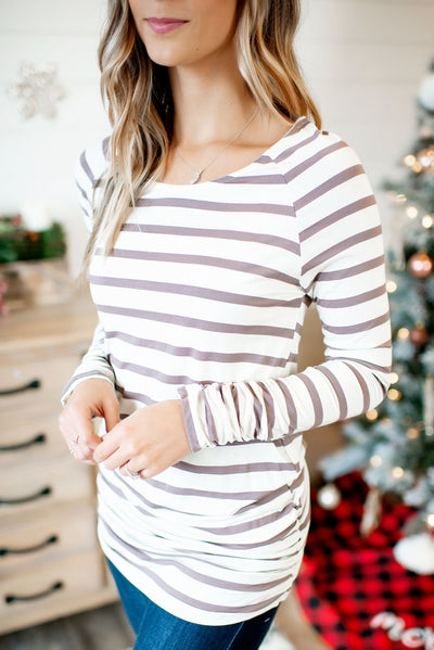 Something About Her (Ivory/Mocha Stripe) FINAL SALE