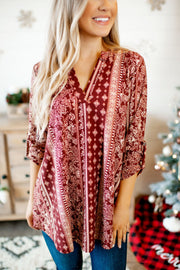 The Paisley Jane Top (Burgundy)